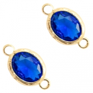 Crystal glass connectors 8x10mm Cobalt Blue Crystal-Gold