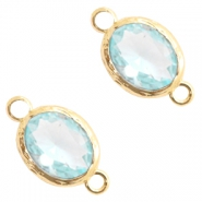 Crystal glass connectors 8x10mm Light Blue Crystal-Gold