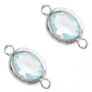 Crystal glass connectors 8x10mm Light Blue Crystal-Silver