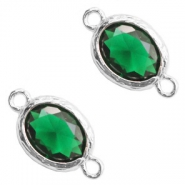 Crystal glass connectors 8x10mm Classic Green Crystal-Silver