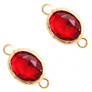 Crystal glass connectors 8x10mm Siam Red Crystal-Gold