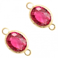 Crystal glass connectors 8x10mm Indian Pink Crystal-Gold