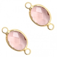 Crystal glass connectors 8x10mm Vintage Pink Crystal-Gold