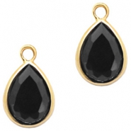 Crystal glass charms drop 6x8mm Jet Black-Gold
