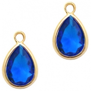 Crystal glass charms drop 6x8mm Cobalt Blue Crystal-Gold