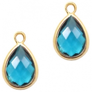 Crystal glass charms drop 6x8mm Indicolite Blue Crystal-Gold