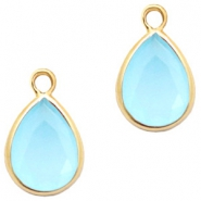 Crystal glass charms drop 6x8mm Blue Opal-Gold