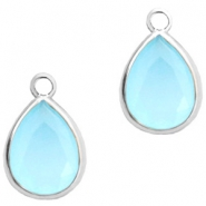 Crystal glass charms drop 6x8mm Blue Opal-Silver
