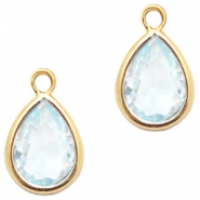 Crystal glass charms drop 6x8mm Light Blue Crystal-Gold