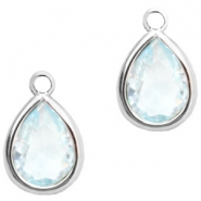 Crystal glass charms drop 6x8mm Light Blue Crystal-Silver