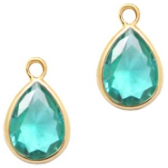 Crystal glass charms drop 6x8mm Emerald Blue Zircon Crystal-Gold