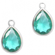 Crystal glass charms drop 6x8mm Emerald Blue Zircon Crystal-Silver