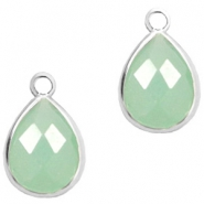 Crystal glass charms drop 6x8mm Green Opal-Silver