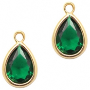 Crystal glass charms drop 6x8mm Classic Green Crystal-Gold