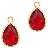 Crystal glass charms drop 6x8mm Siam Red Crystal-Gold