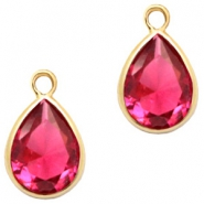 Crystal glass charms drop 6x8mm Indian Pink Crystal-Gold