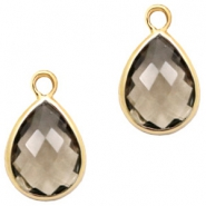 Crystal glass charms drop 6x8mm Greige-Gold