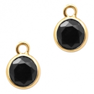 Crystal glass charms round 6mm Jet Black-Gold