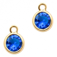 Crystal glass charms round 6mm Cobalt Blue Crystal-Gold