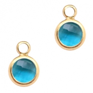 Crystal glass charms round 6mm Indicolite Blue Crystal-Gold