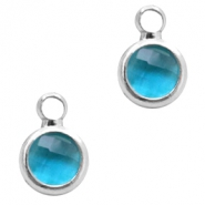 Crystal glass charms round 6mm Indicolite Blue Crystal-Silver