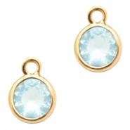 Crystal glass charms round 6mm Light Blue Crystal-Gold