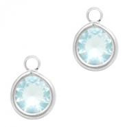 Crystal glass charms round 6mm Light Blue Crystal-Silver