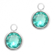 Crystal glass charms round 6mm Emerald Blue Zircon Crystal-Silver