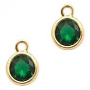 Crystal glass charms round 6mm Classic Green Crystal-Gold