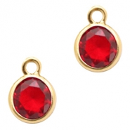 Crystal glass charms round 6mm Siam Red Crystal-Gold