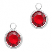 Crystal glass charms round 6mm Siam Red Crystal-Silver
