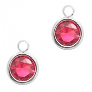 Crystal glass charms round 6mm Indian Pink Crystal-Silver