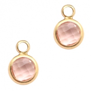 Crystal glass charms round 6mm Vintage Pink Crystal-Gold
