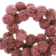 8 mm natural stone beads matt Lava Red Brown