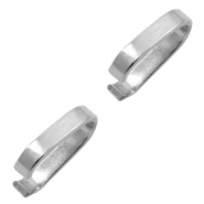 Stainless Steel findings ring with oval jump ring 14x4mm Silver