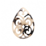 Resin pendants drop baroque 38x27mm Cream-Black