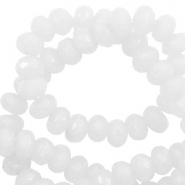 4 mm natural stone faceted beads disc Simply White