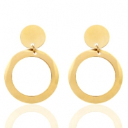 Stainless steel earrings round Gold