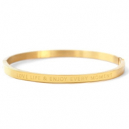 "Stainless steel bracelets ""LOVE LIFE AND ENJOY EVERY MOMENT"" Gold"