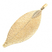 Charm with 1 loop metal leaf Warm Gold (nickel free)