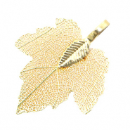 Charm with 1 loop metal leaf Sepia Gold (nickel free)