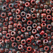 Miyuki seed beads 8/0 Opaque Picasso Red 8-4513