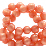 Super Polaris beads round 10 mm Tiger Lily Coral Pink