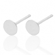 925 Silver findings earpins round 5mm Silver