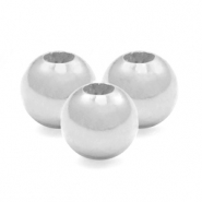 925 Silver beads round 6mm Silver