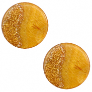 12 mm flat Polaris Elements cabochon Stardust Caramel Yellow