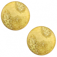 12 mm flat Polaris Elements cabochon Stardust Gold-Mineral Yellow