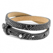 Cuoio bracelets leather 8mm double for 12mm cabochon Snake Black-White