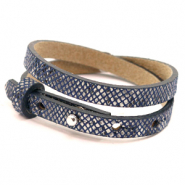 Cuoio bracelets leather 8mm double for 12mm cabochon Snake Indigo Blue