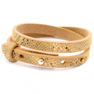 Cuoio bracelets leather 8mm double for 12mm cabochon Snake Mineral Yellow-Brown